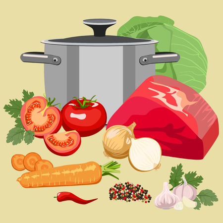main dishes: Set of meat and vegetables for soup and main dishes.