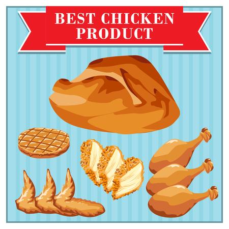 alimentos congelados: Conjunto de productos de pollo de comida rápida. De pollo y sus partes.