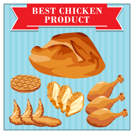 frozen meat: Set of fast food chicken products. Chicken and its parts.