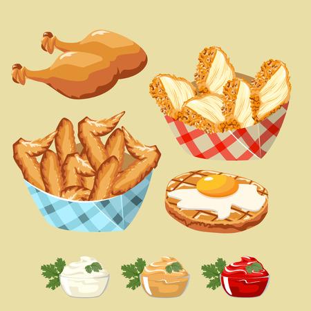 carne de pollo: Conjunto de productos de pollo de comida rápida. Albóndigas y salsas. Vectores