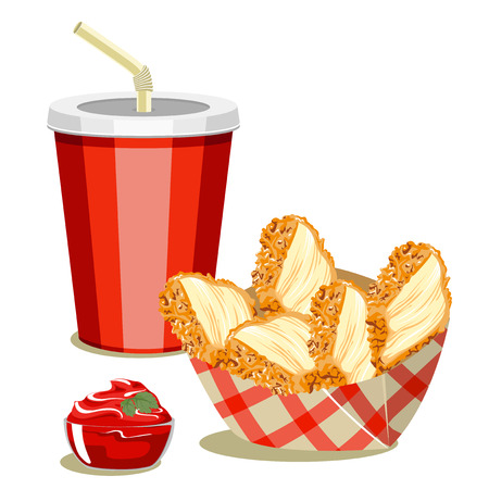 Set of fast food products. Chicken breast and cola.
