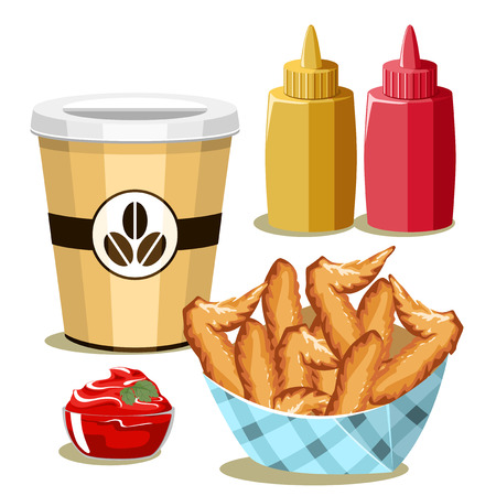chicken wings: Set of fast food products. Fried chicken wings and set dressings. Illustration