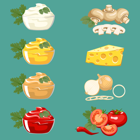sweet mustard: Set of different sauces for meat dishes and fast food. Illustration