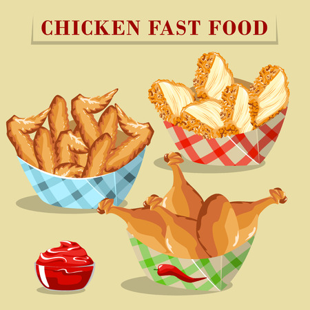 sauces: Set of fast food chicken products. Meatballs and sauces.