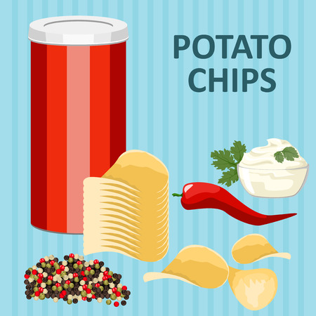 potatoes: Spicy potato chips with pepper and sauce in a tube. Illustration