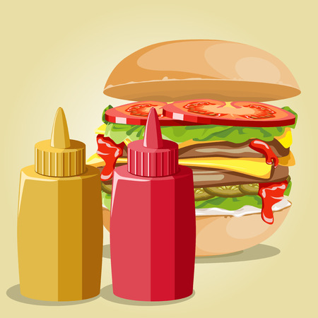 sauces: Tasty hamburger with tomatoes and chop. Set sauces.