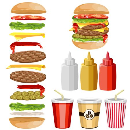 open sandwich: Ingredients for a hamburger. Various sauces and beverages.