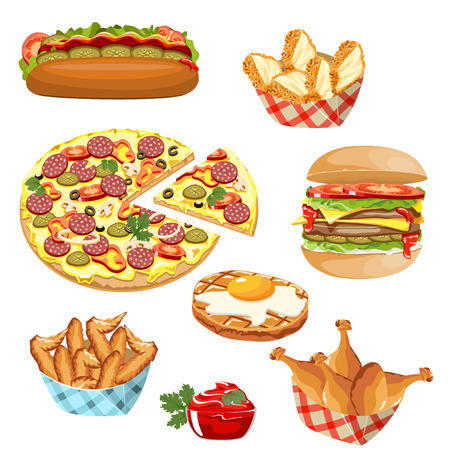 Set of fast food with sauce products.