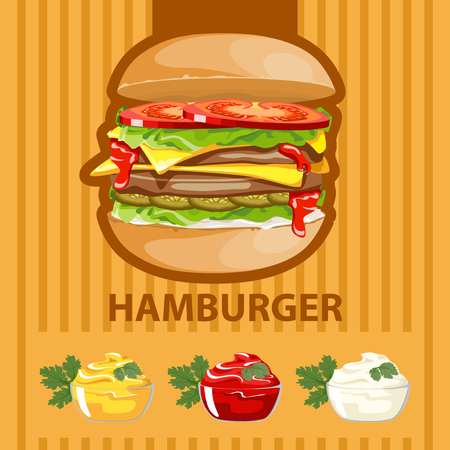 faced: Big tasty burger with different sauces on a colored background.