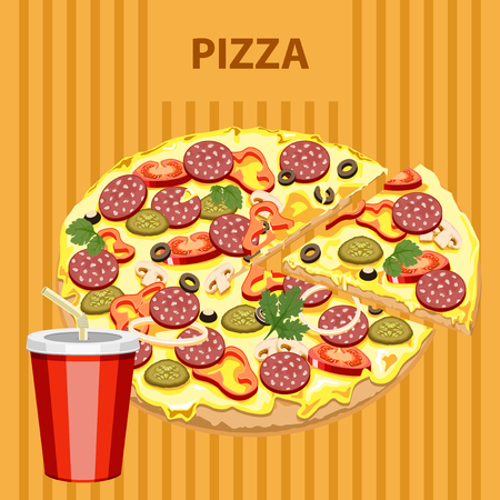 tasty: Big tasty pizza and drink on a colored background.