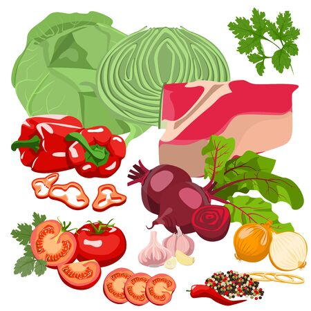 raw beef: Ingredients for the preparation of various dishes. Meat and vegetables.