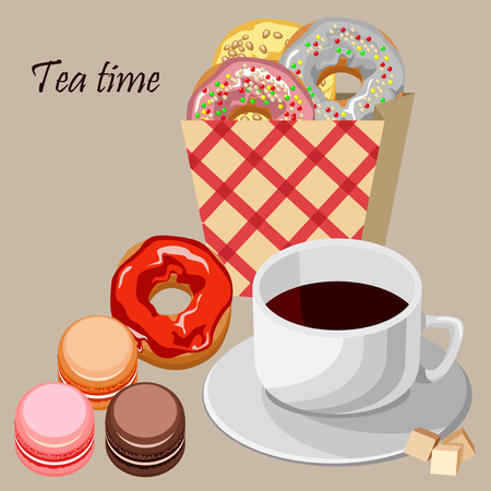 custard: Set of colorful donuts and macaroons. Environmentally friendly paper bag into the red cell. White cup of tea. Illustration