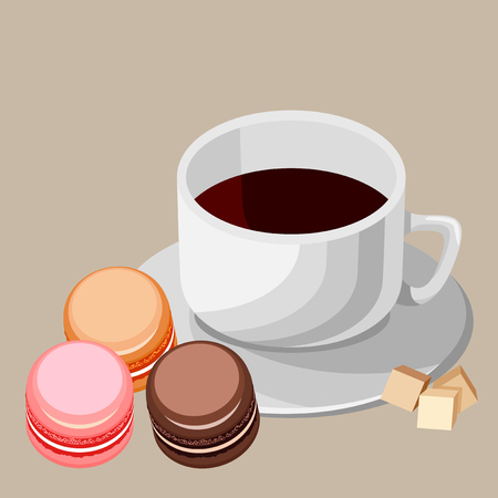 Set of colorful macaroons. White cup of tea with brown sugar.