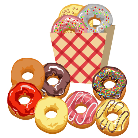 frosting: Set of multi-colored donuts with frosting and chocolate. Eco-friendly paper bag into the red cell. Illustration