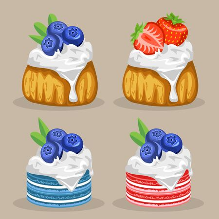blueberry muffin: Set of desserts. Muffins with blueberries and strawberries. Macaroons with blueberries.