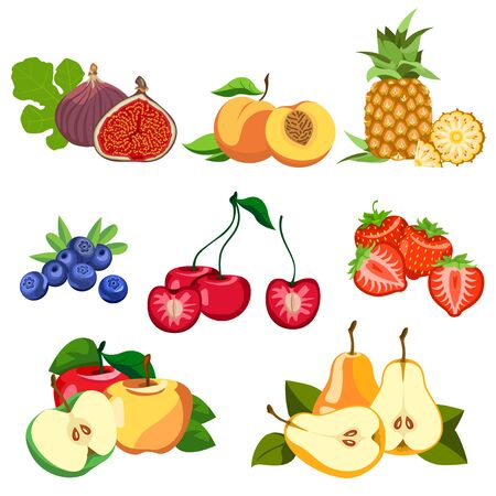 Healthy eating. Fruits and berries are tasty and healthy. Illustration