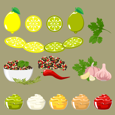 sauces: Set of spices and ingredients for sauces. Lemon and lime slices. Peppers of different colors, pods and peas. Green shoots.