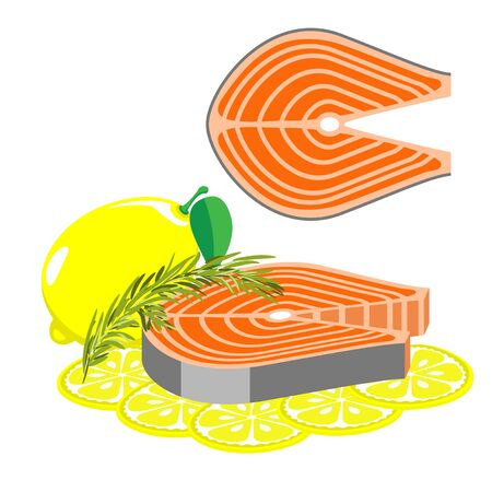 Seafood is a healthy diet. A piece of salmon with rosemary and lemon. Illustration