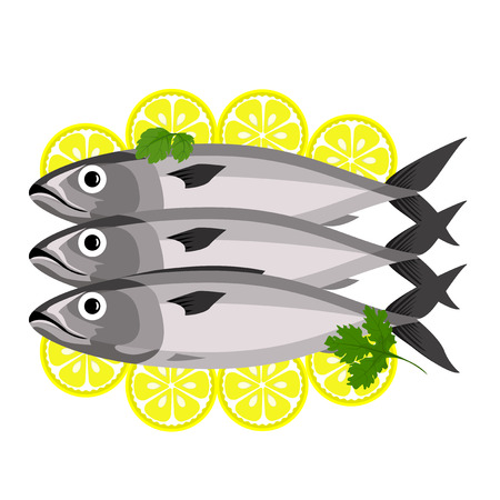 Seafood Healthy eating. Three fish with parsley leaves. Slices of lemon. View from above.