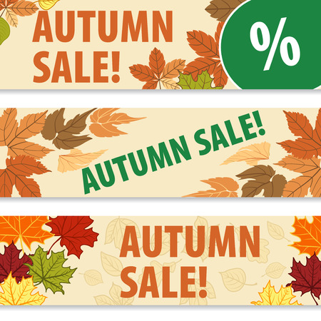 autumn colors: Templates banners for autumn discount. Autumn leaves of different colors, a place for your text.