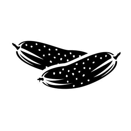 gherkin: Black and white illustration. Two sweet cucumbers.