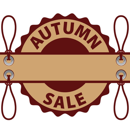 paper tag: Tag paper autumn discounts. Brown paint. Illustration