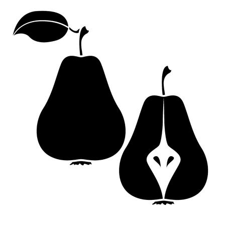 Black and white illustration. Group of pear. Illustration