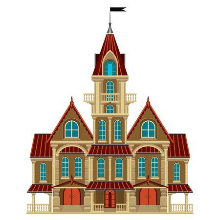 castello medievale: Bella vecchio castello con un balcone e una banderuola. styling gotico. Può essere utilizzato per l'illustrazione per Halloween.