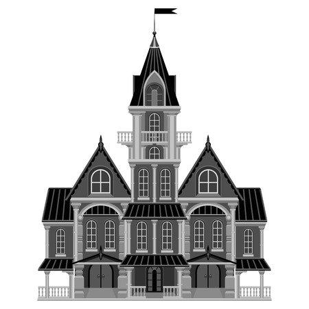 Beautiful old castle with a balcony and a weather vane. Gothic styling. It can be used for illustration for Halloween. Illustration