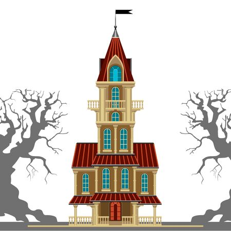 gnarled: Beautiful old castle with a balcony and a weather vane. Gothic styling. It can be used for illustration for Halloween. Illustration