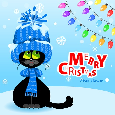 Winter landscape with snowflakes. Text Merry Christmas Black cat in a blue hat and scarf looks at the multi-colored bulbs.
