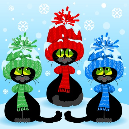 kitties: Winter landscape and black kittens in colorful caps. Set curious cats.