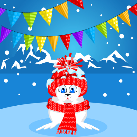 floe: Arctic animals character and background, Winter Landscape, Nature Travel Wildlife. Merry Christmas