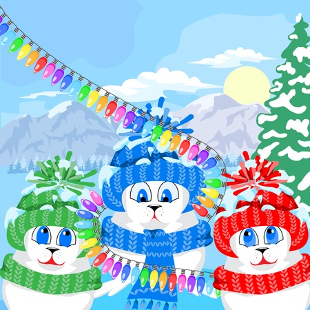 baby seal: Fur seal pups in colorful hats on a background of a winter landscape. The celebration of Christmas and New Year. Arctic animals character and background, Winter Landscape, Nature Travel Wildlife. Illustration