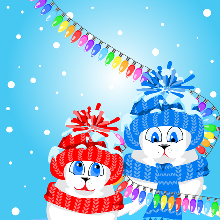 Fur seal pups in colorful hats on a background of a winter landscape. The celebration of Christmas and New Year. Arctic animals character and background, Winter Landscape, Nature Travel Wildlife. Illustration