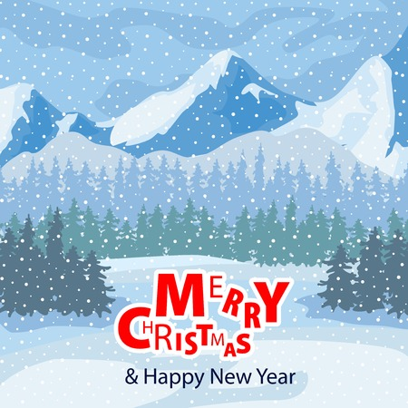 Winter landscape. Mountains and trees in the background. Christmas Celebration. Winter landscape can be used for your Christmas design. Векторная Иллюстрация