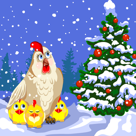 Hen and three chicken looking at the Christmas tree. Winter landscape, snow. Christmas tree decorated with red balls. Christmas card. Illustration