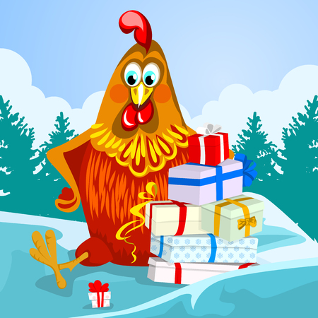 Symbol of the year - Red Rooster sitting in the snow. Near a lot of multi-colored boxes with gifts. In the background is a winter forest. Christmas card.