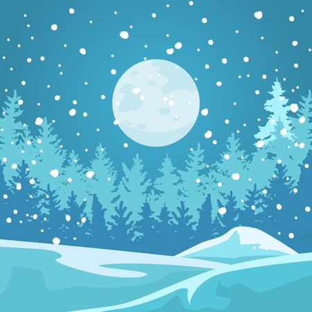 rime: The full moon illuminates the dark forest and snowdrifts. Snow falls. Illustration
