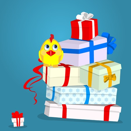 Cock - a symbol of the year. Many multi-colored gift boxes and colorful ribbons. Yellow little chicken. Illustration