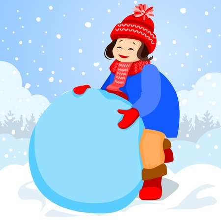 clump: Girl sculpts a large clump of snow. She will make a snowman. It is snowing outside. On the girl a red cap and blue coat.