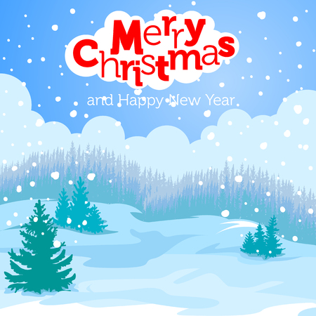 snow forest: Christmas card winter landscape. Firs in the snow and winter forest in the background. Greeting inscription. Merry Christmas and happy new year. Illustration