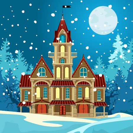 A beautiful castle in the forest. Night winter landscape. Full moon on a dark sky. It is snowing outside. Illustration