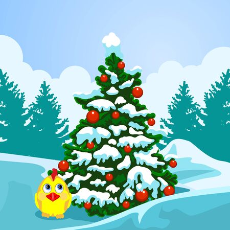 New Year card. Christmas tree on the background of a winter landscape. Chicken in the snow under the Christmas tree.