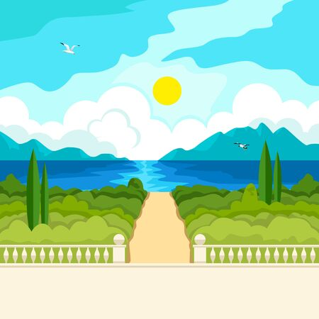 handrail: Southern landscape. The stone parapet and railing with a handrail. Figured columns balustrades. Yellow walkway to the sea. Solar patches of light on water. Green trees and cypresses. In the distance, mountains and clouds.
