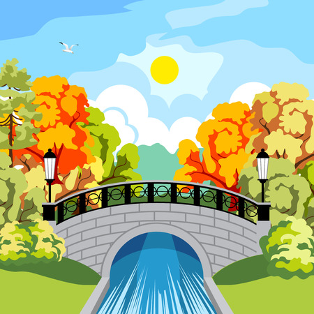 fall trees: Beautiful park in the fall. Trees with red and yellow foliage. Rapid River. Beautiful antique bridge and cast-iron fence. The black wrought-iron lanterns at the bridge. The bridge reflected in the river. Sun and clouds.