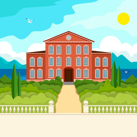 mediterranean homes: Southern landscape. The stone parapet and balustrade railings. Figured columns balustrades. The yellow pass to the red house. Green trees and cypresses. In the distance the sea mountains and clouds. Illustration