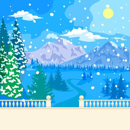 montañas nevadas: Invierno paisaje nevado. Los parapeto de piedra y barandilla pasamanos. Columnas figurado balaustradas. Abeto cubierto de nieve. A una distancia de montañas, bosques y las nubes. Nevando. Vectores