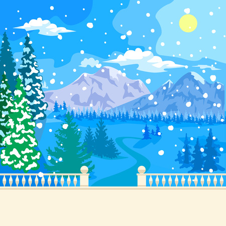 Winter snowy landscape. The stone parapet and balustrade railings. Figured columns balustrades. Fir covered with snow. At a distance of mountains, forest and clouds. Snowing. Illustration