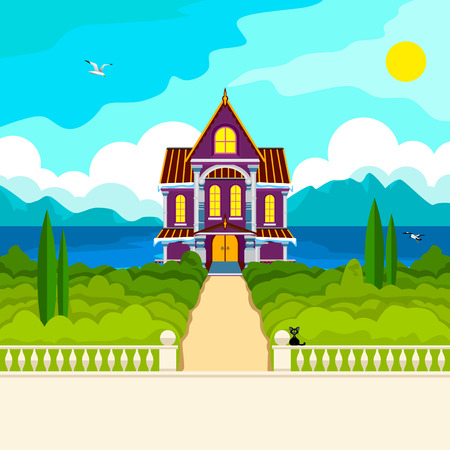 Southern landscape. The stone parapet and balustrade railings. Figured columns balustrades. Yellow path leads to a beautiful house with columns. Green trees and cypresses. In the distance the sea mountains and clouds. Flying seagulls. Illustration